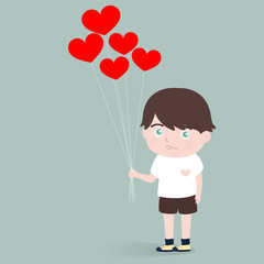 little boy with heart balloons