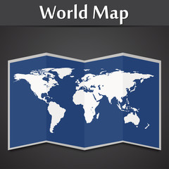 World map on a black background vector illustration