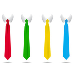 A set of strict, colored ties with shadow vector