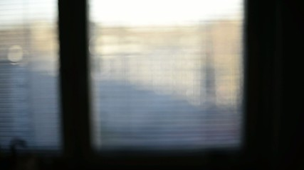 blurred scene in window, abstract