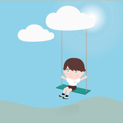 little boy on a swing hanging from cloud