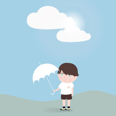 little boy with umbrella stand alone.