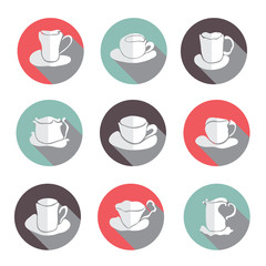 coffe cups icons set