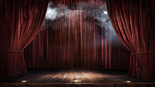 "Постер, картина, фотообои ""Magic theater stage red curtains Show Spotlight"""