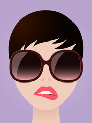 Cartooned Woman with Eyeglasses Biting her Lips