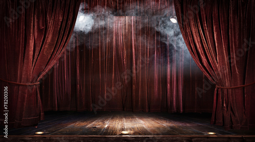 Leinwanddruck Bild Magic theater stage red curtains Show Spotlight
