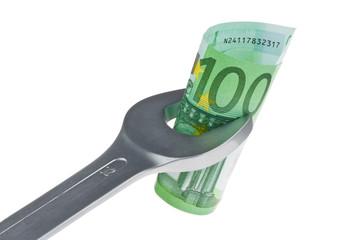 Werkzeug und Euro-geldscheine