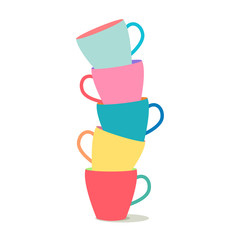 stack of colorful coffee cups