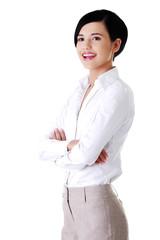 Portrait of happy confident businesswoman
