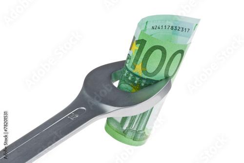 canvas print picture Werkzeug und Euro-geldscheine