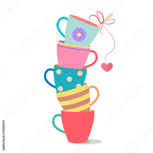 stack of colorful coffee cups - 78201553