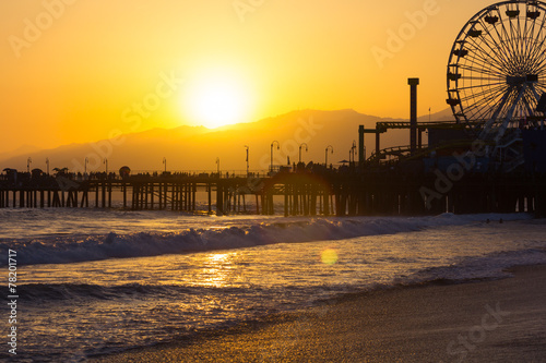 Aluminium Los Angeles Sunset on Santa Monica Beach