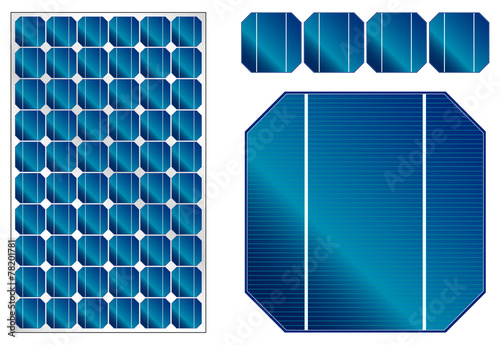Solar panel illustration with detailed cells - 78201781
