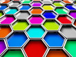 abstract colorful hexagon shape.
