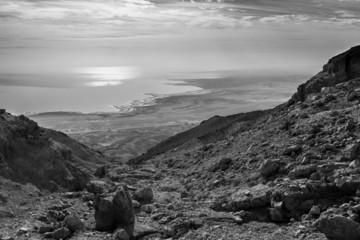 Dead sea coastline in black and white.