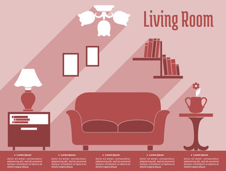 Living room interior flat infographic with text layout