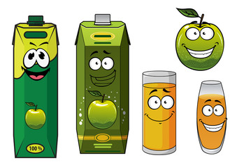 Cartoon happy green apple fruit, glasses and packs of juice