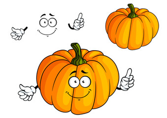 Cartoon bright orange pumpkin vegetable