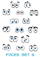 Cartoon blue eyes with different emotions