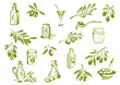 Green fresh, pickled olives and olive oil symbols - 78202774