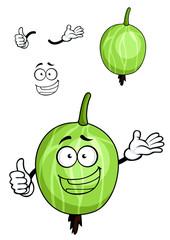 Cartoon green striped gooseberry fruit
