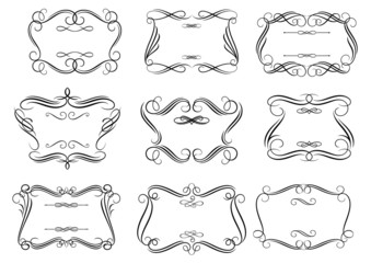 Retro curlicue frames or cartouches in romantic style