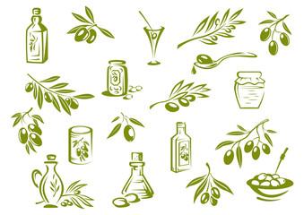 Green fresh, pickled olives and olive oil symbols
