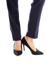 Close up on businesswoman slim legs