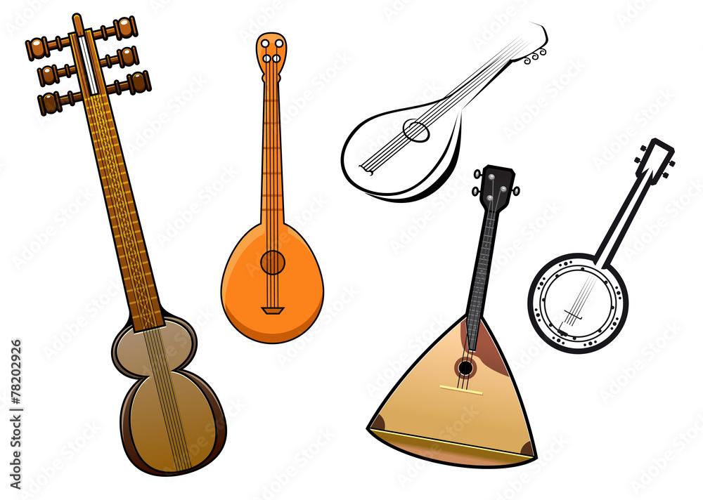 Plakat Folk Strunowe Instrumenty Muzyczne Elementy Projektu Wally24pl