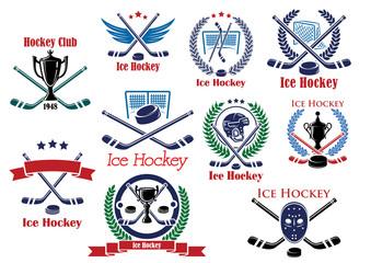 Heraldic logo and emblems for ice hockey club