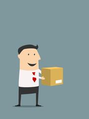 Cartooned flat businessman holding carton box