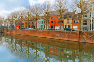 River Leie and colored houses in Ghent, Belgium