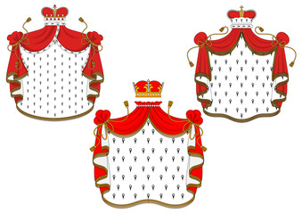 Royal red velvet mantle with golden crowns