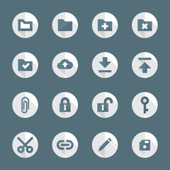 vector flat design round various file actions icons set