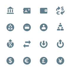 vector silhouette various financial banking icons set