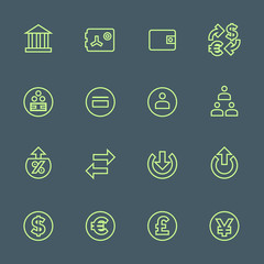 vector outline various financial banking icons set