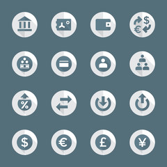 vector flat design round various financial banking icons set