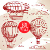 Fototapety set with vintage balloons