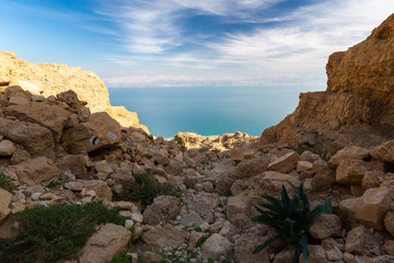 Dead sea and Jordan mountains view.