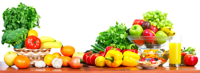 Fruits and vegetables isolated white background.