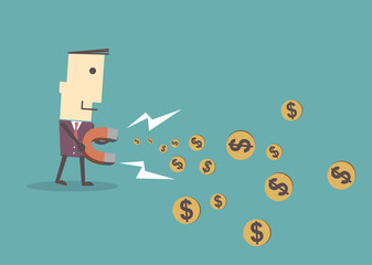 Businessman using magnet to attracts money,vector illustration e