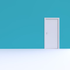 Door in colored wall. 3d illustration.