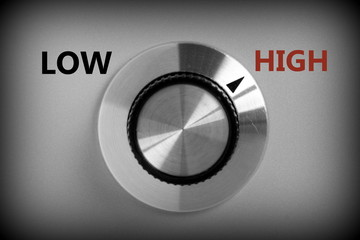 Control switch pointing at the word HIGH