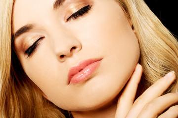 Close up on sensual female face