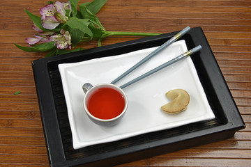 Red Tea With Fortune Cookie