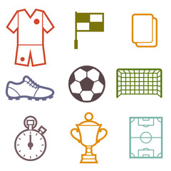 Set of sports soccer football symbols.