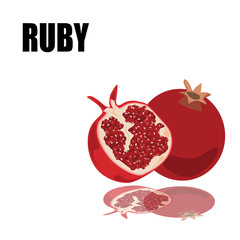 red ruby with font