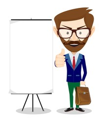 Teacher with blank poster, vector illustration