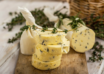 Butter with thyme and rosemary lemon zest.