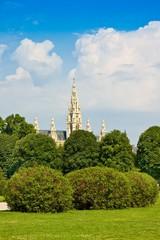 Vienna town hall, view from park Volksgarten, Austria